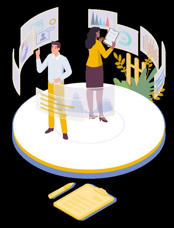 illustration deux personnes réalisant un audit de système d'information