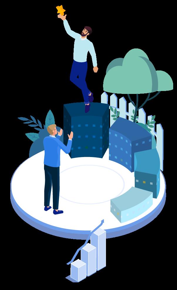 illustration deux personnes travaillent à l'optimisation du système d'information