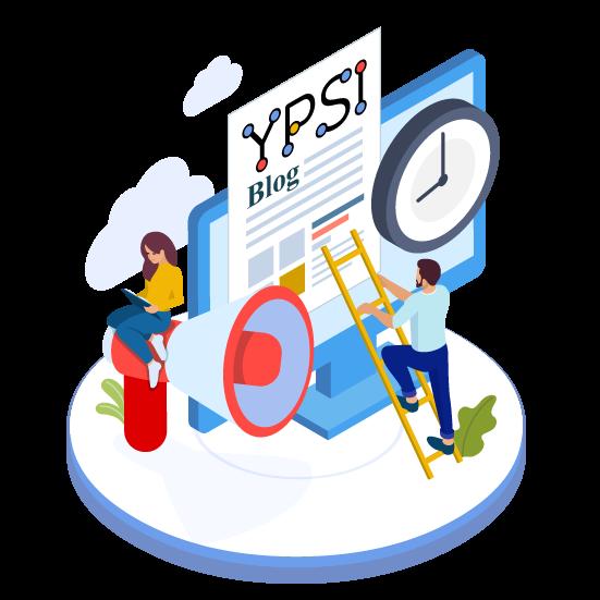 Illustration du blog d'YPSI : des personnes s'activent à mettre à jour un journal papier