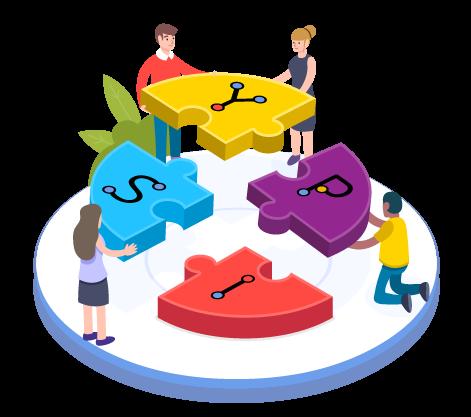 illustration de personnes travaillant ensemble pour assembler un puzzle au nom de YPSI